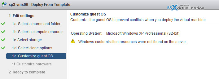 Windows customization resources were not found on the server