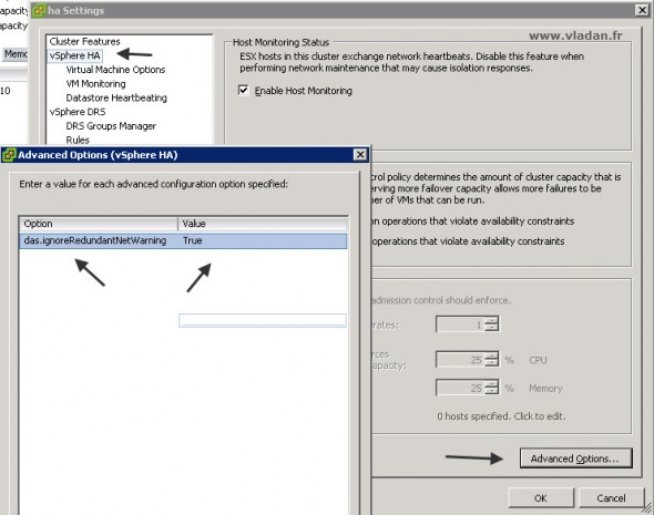 das.ignoreRedundantNetWarning - How to disable the message in VMware vSphere
