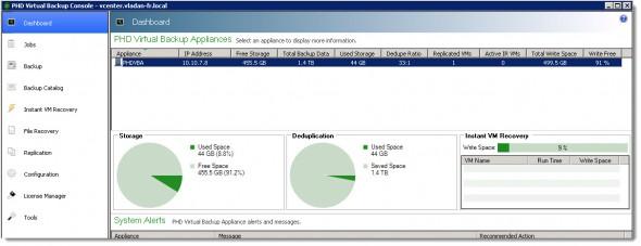 PHD Virtual Backup 6.0 - The dashboard