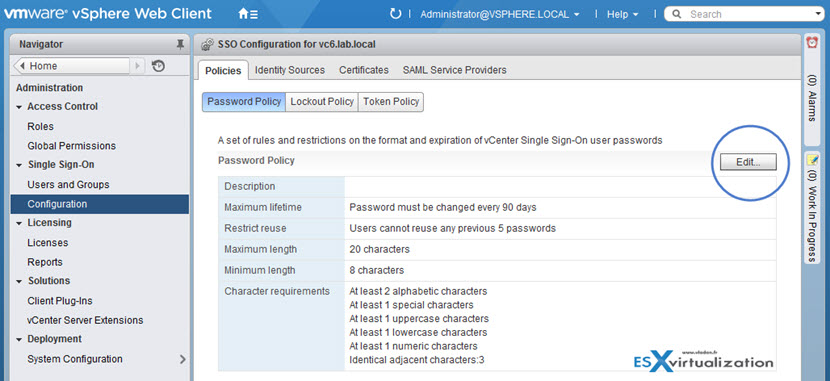 VMware vCenter 6.0 SSO Default Password Policy