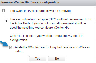 Delete vCenter HA config with an option to remove Witness and passive node