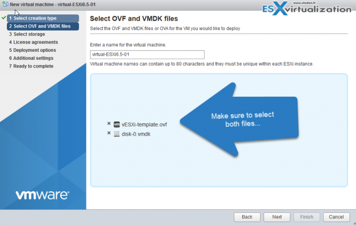 deploy a template for nested ESXi 6.5