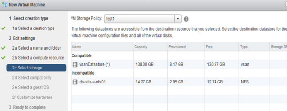 VM Storage Policies during the provisioning