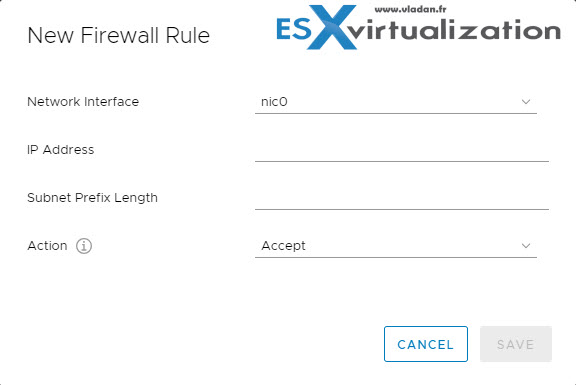 VMware VCSA Firewall settings