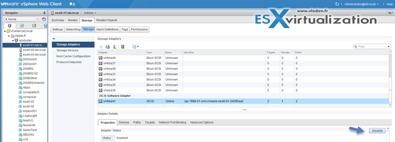 Enable or Disable storage iSCSI initiator