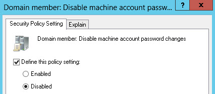 Domain Member: Disable machine account password change = Disabled