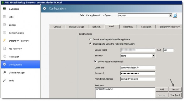PHD Virtual Backup 6.0 - E-mail Reporting Capabilities
