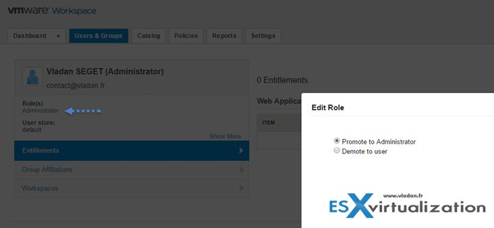 VMware Horizon Workspace - Promote user to administrator role