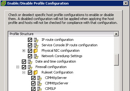 Enable or disable config - VMware vSphere Host profiles