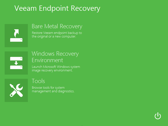 Veeam Endpoint Backup recovery ISO