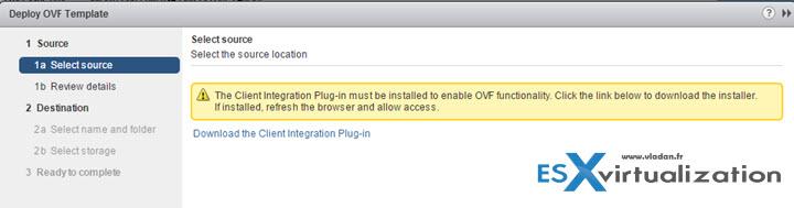 vSphere client integration plugin error