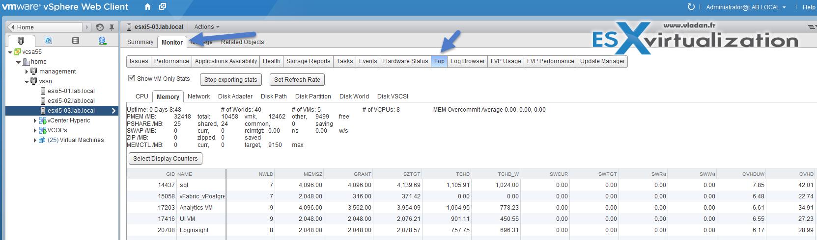 ESXTop Plugin for vSphere Web client