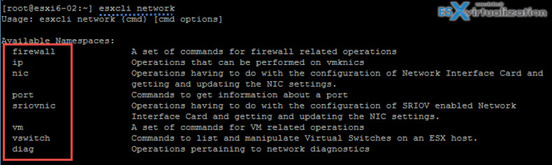 ESXCLI network ESXi commands