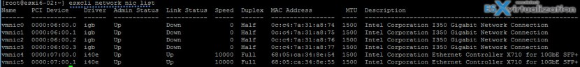esxcli network nic list