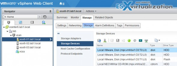 VMware VSAN - Now available in the UI: Tag or Untag hard disk as SSD or as HDD