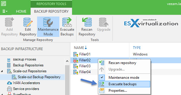Veeam Scale-out backup repository - Maintenance Mode
