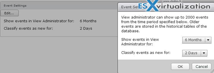 Create Horizon View Event Database