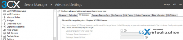 3CX Phone system - Exchange Integration