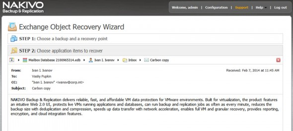 Nakivo Exchange Recovery Wizard