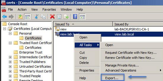 VMware Horizon View Connection Server SSL Certificate How-to | ESX