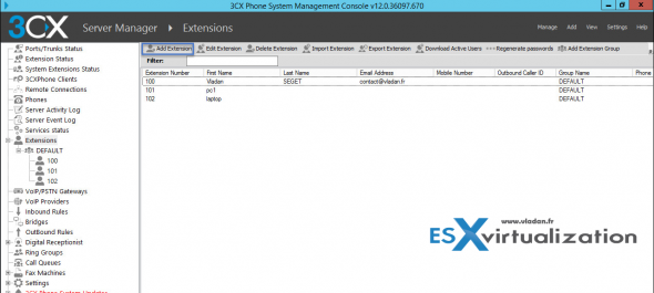 3CX Phone System - Add new extension