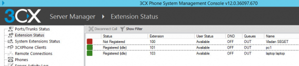 3cx Phone System - Registered Extension