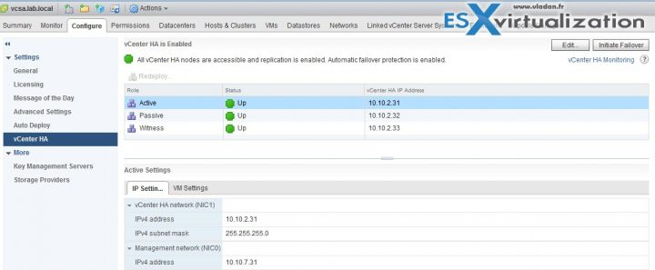 vCenter Server HA (VCSA 6.5) Active - Passive Advanced Config