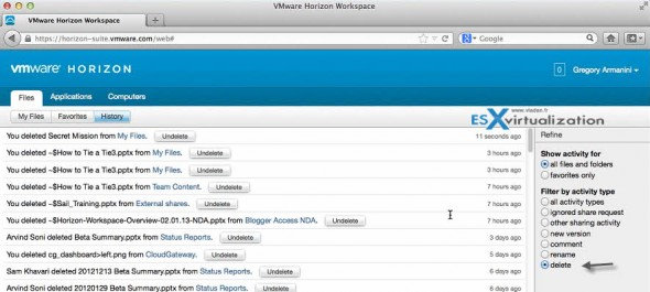 VMware Horizon Workspace - user file view - filter delete operations