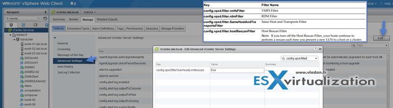 Enable/Configure/Disable vCenter Server storage filters