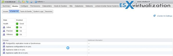 VMware vCenter server (VCSA 6.5) HA advanced configuration