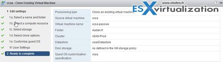 vCenter 6.5 (VCSA) HA advanced configuration how-to
