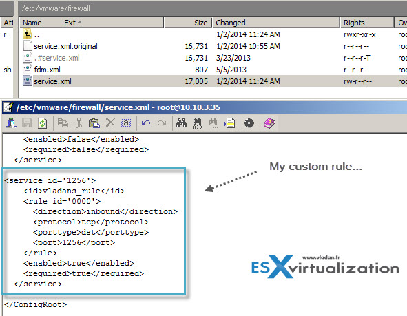 Add custom firewall rule ESXi 5.x