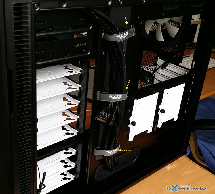Fractal Design r5 Back - Notice the cabling and additional 2 SSD slots