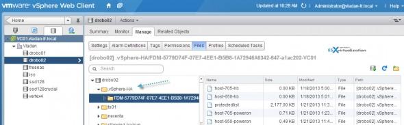 """What is the .""""vSphere-HA folder"""" for?"""