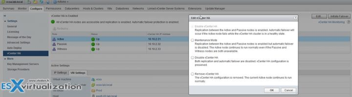 How to configure vCenter HA with Simple option wizard