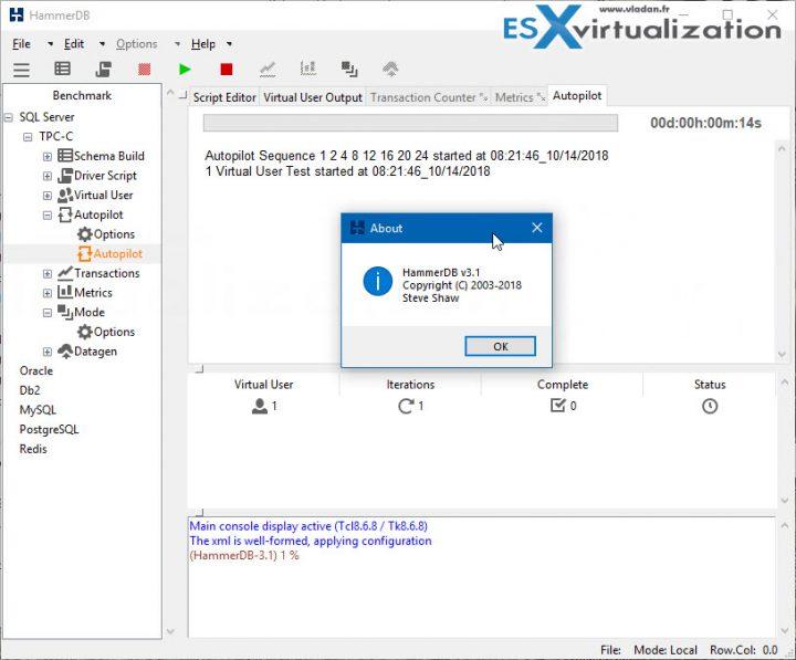 Free Tool - HammerDB Benchmark Tool New Release | ESX