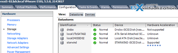 Starwind Datastore - Hardware acceleration is supported