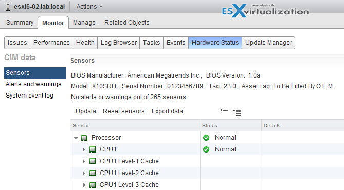 VMware vCenter server is capable of presenting this information through the Hardware Status