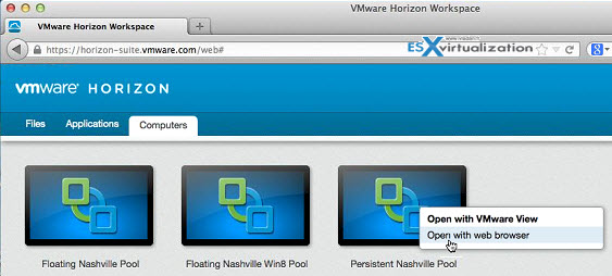 VMware Horizon Workspace - accessing desktops