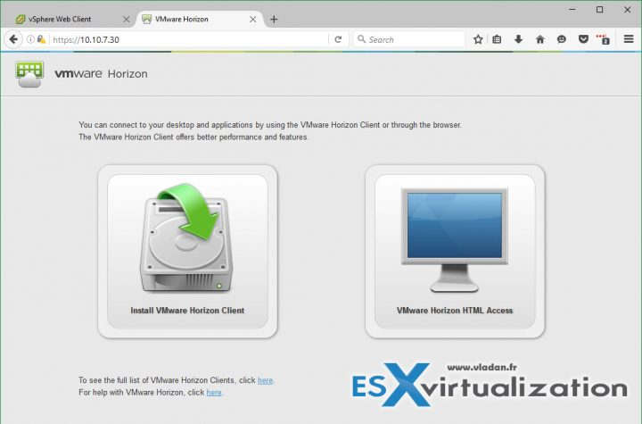 VMware Horizon 7 connection options