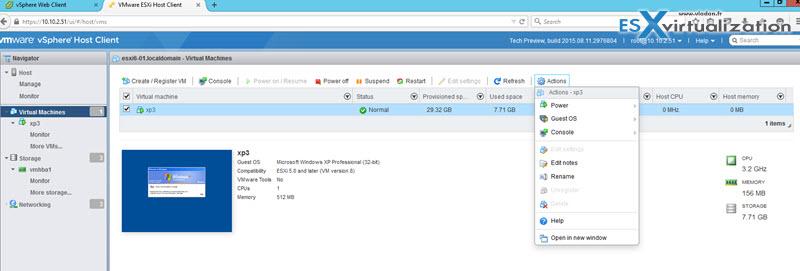 ESXi web client