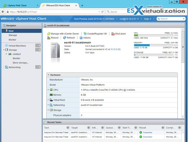 ESXi FREE Web Client Interface | ESX Virtualization