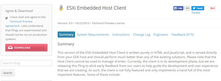 Download the ESXi host client
