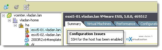 how to activate ssh in esxi - security message on the host
