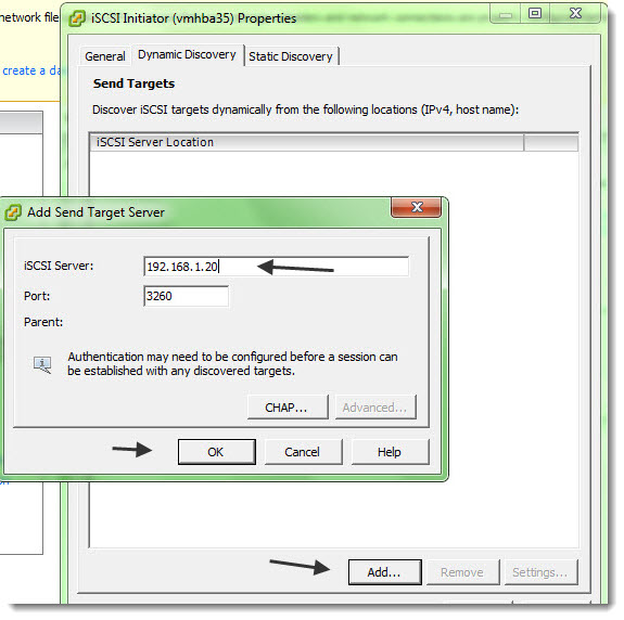 ESXi 5 - How to configure iSCSI initiator to see the iSCSI target