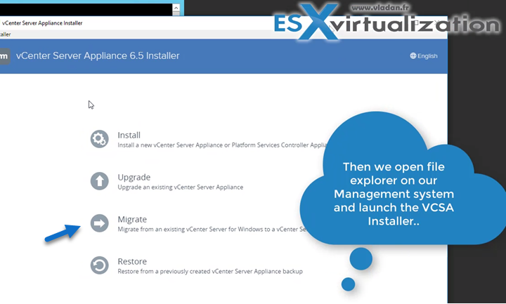 vCenter Server Migration Assistant - execute it on your Windows based vCenter