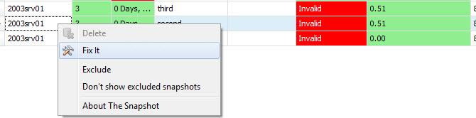 Fix Invalid Snapshot