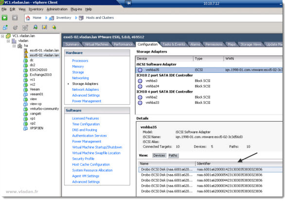 iSCSI connection from ESXi 5 to Drob Elite/b800i - can you see the LUNs