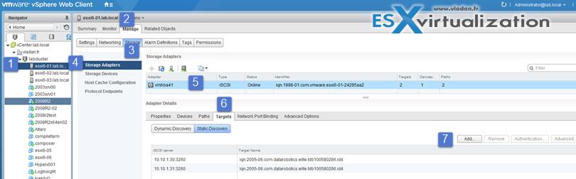 Configure iSCSI targets via Web client
