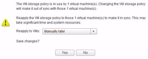 Changing VM storage Policy when VM running